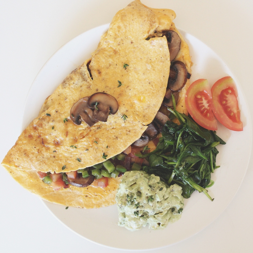 Cheesy Mushroom Omelette with Avocado Mint Greek Yoghurt & Wilted Spinach