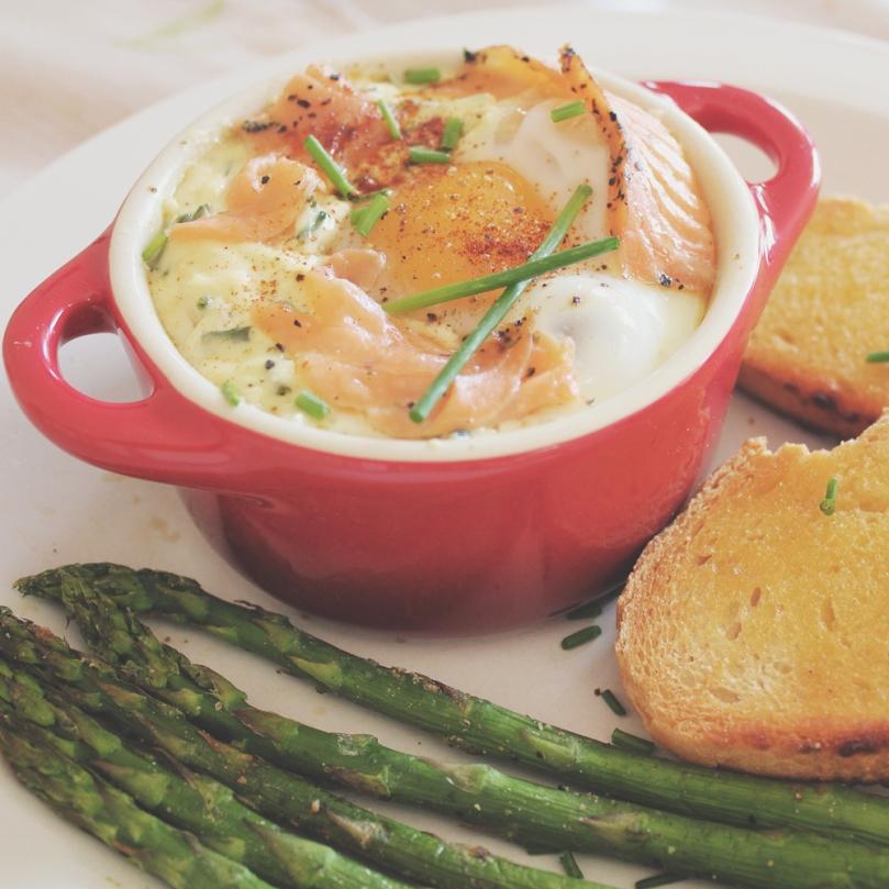Smoked Salmon & Sour Cream Baked Eggs