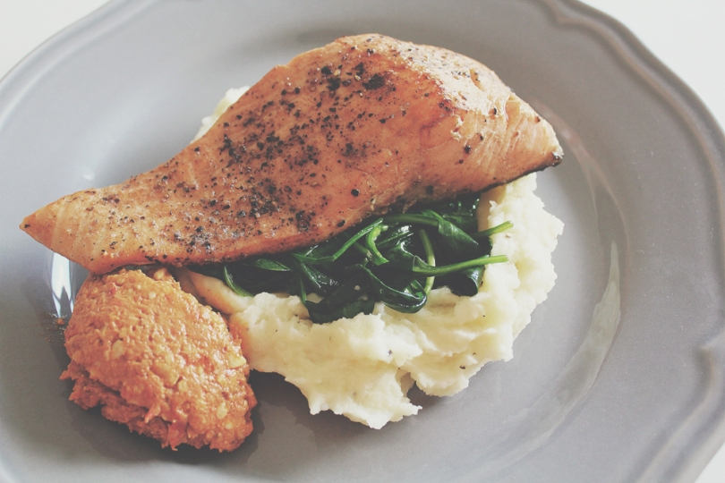 Pan-fried Salmon with Mashed Potatoes & Wilted Spinach