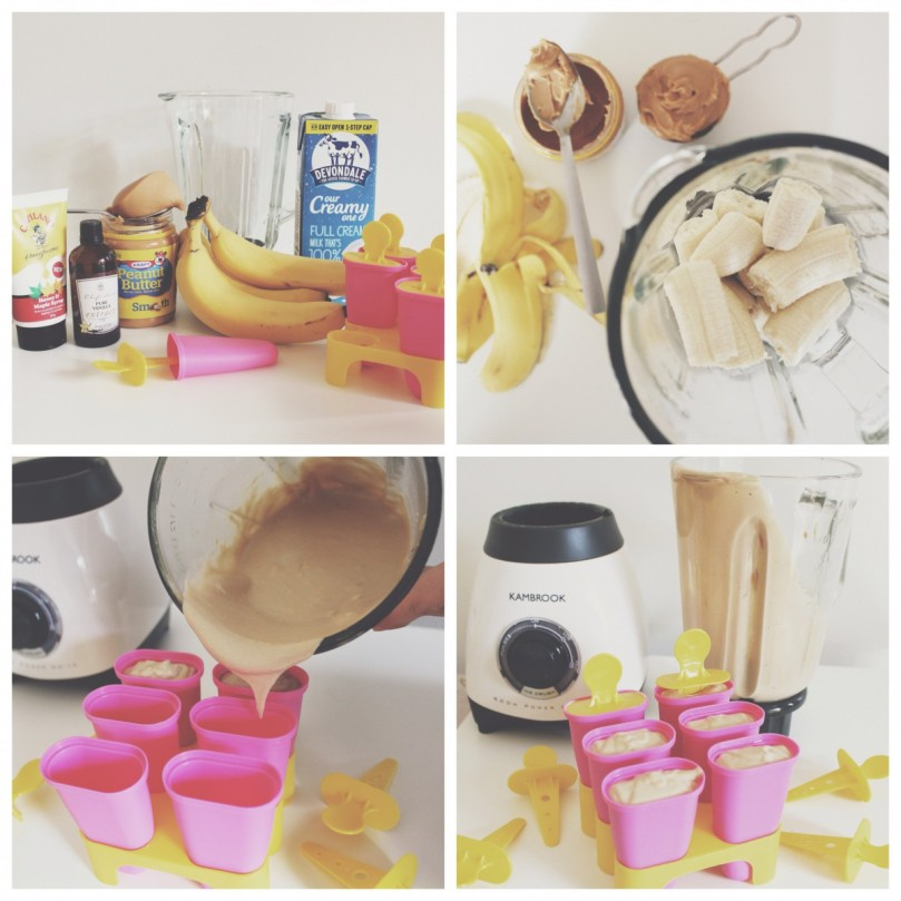 Banana & Peanut Butter Popsicles: Procedure