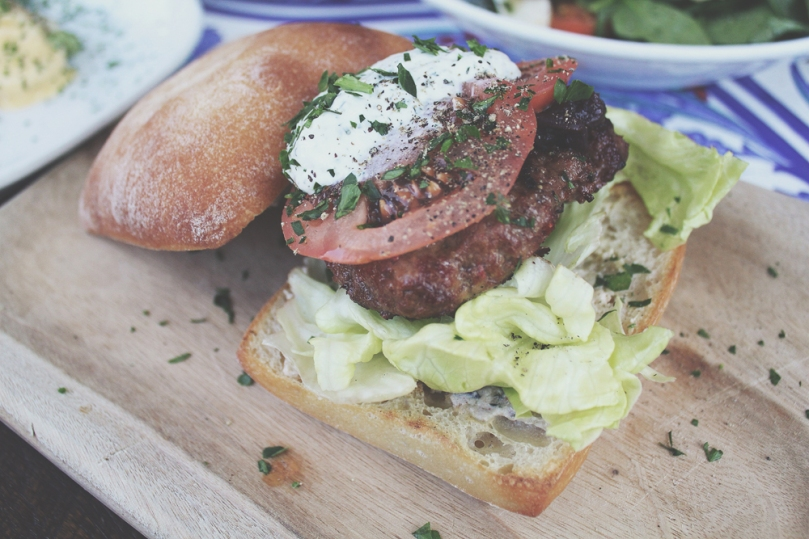 Rustic Pearl - LUNCH for the soul: Char grilled Mediterranean Lamb Burger