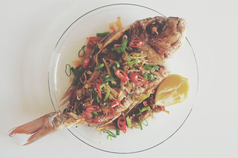 Pan-fried Whole Snapper with Chilli, Ginger, Shallot & Soy Sauce