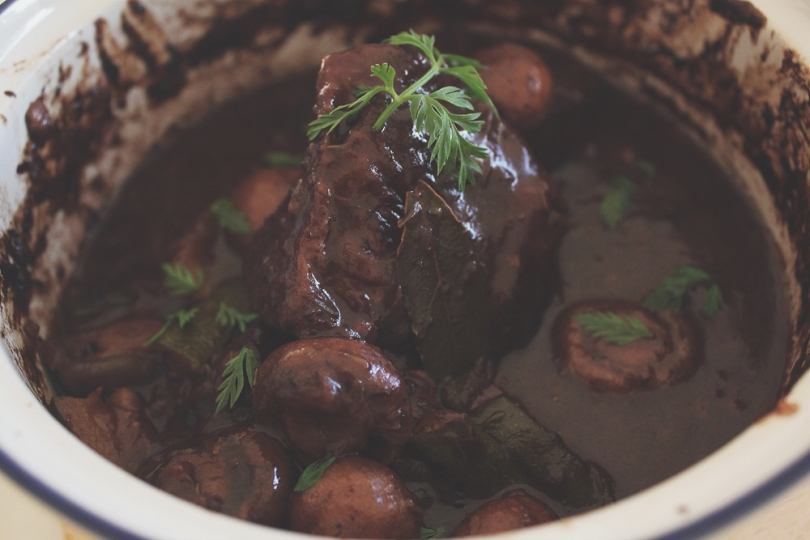 Braised Steak au Poivre in Red Wine