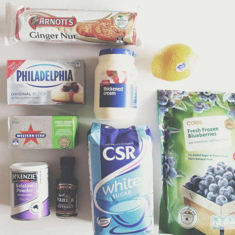 Mini No-bake Blueberry Cheesecake Ingredients