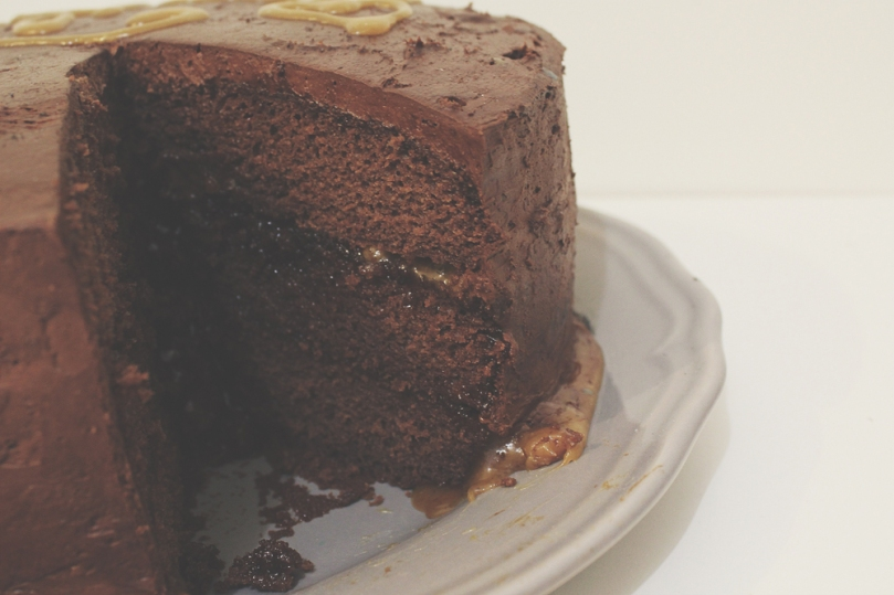 Layered Chocolate & Salted Caramel Cake