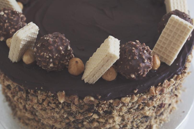 Ferrero Rocher & Nutella Cake with Hazelnuts