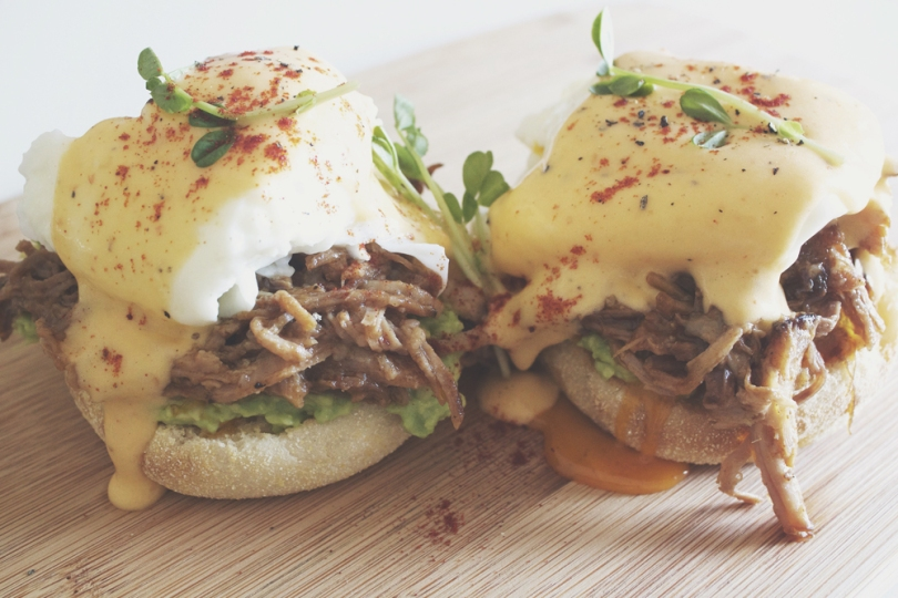 Beer-braised Pulled Pork Eggs Benedict