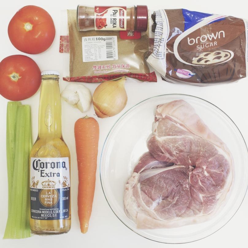 Beer-braised Pulled Pork Ingredients