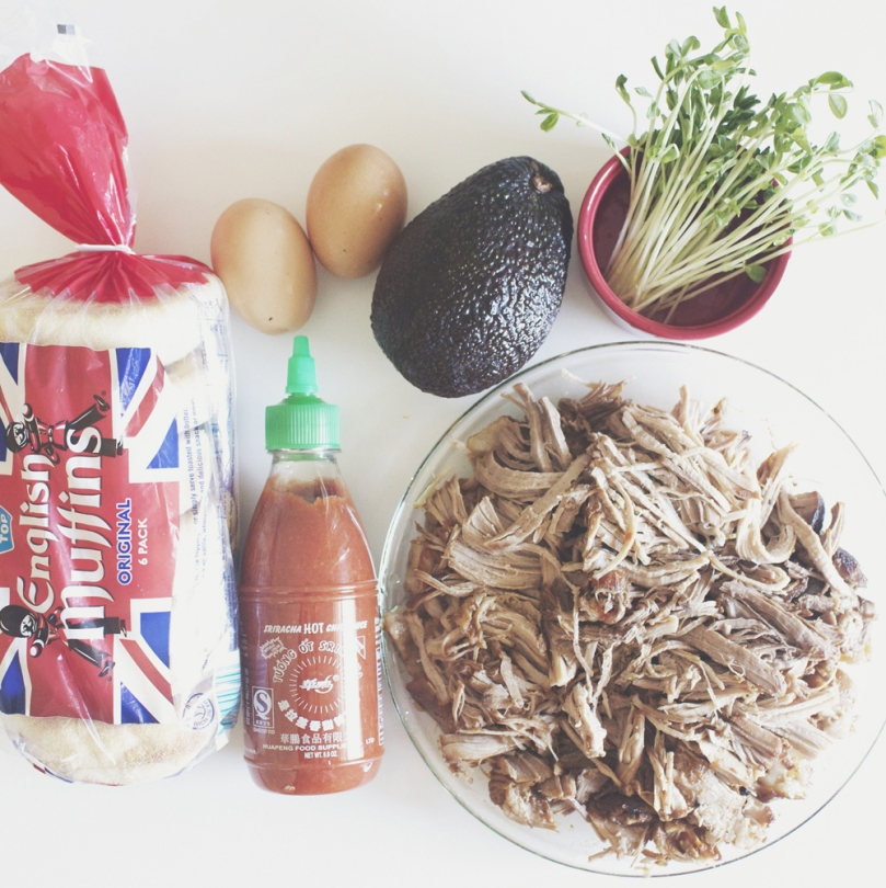 Beer-braised Pulled Pork Eggs Benedict Ingredients
