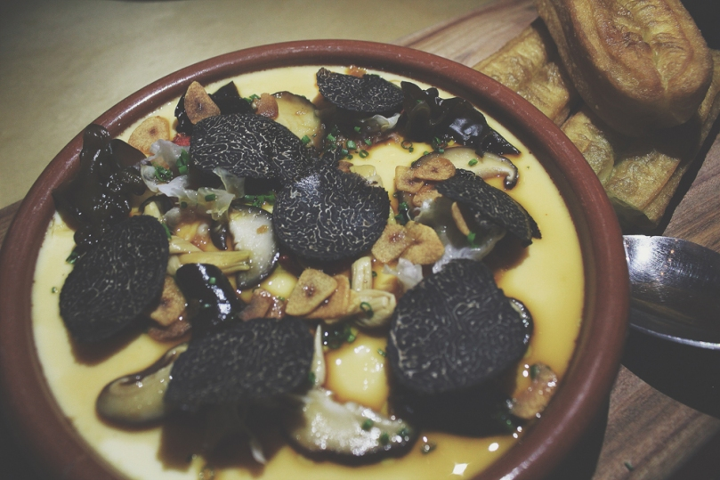 Devon Café (Devon by Night) - MAIN: Chinese Egg Custard, Shiitake, Fungus, Yellow Needle Flower, Chinese Fried Bread and Perigord Black Truffle