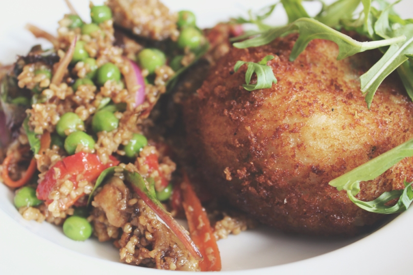 Ampersand Café & Bookstore - COUNTER ITEMS: ARANCINI & CRACKED WHEAT SALAD