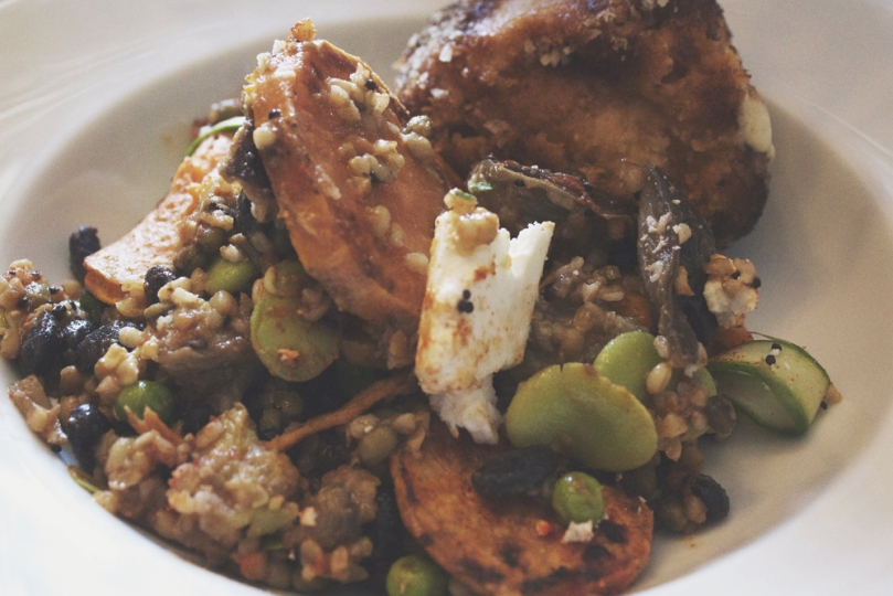 Ampersand Café & Bookstore - COUNTER ITEMS: ARANCINI & ROASTED EGGPLANT AND WHEAT SALAD