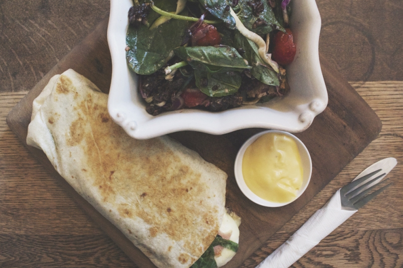 Ampersand Café & Bookstore - COUNTER ITEMS: BREAKFAST WRAP & BLACK STICKY RICE SALAD