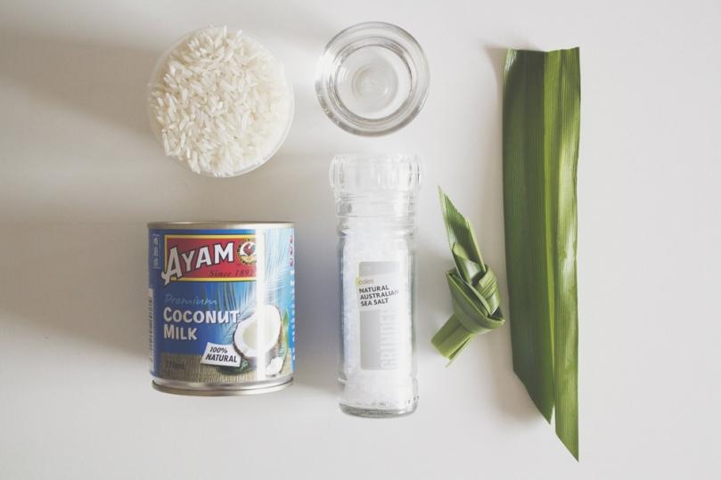 Nasi Lemak (Coconut Rice) Ingredients