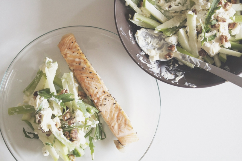 Celery & Green Apple Slaw with Salmon