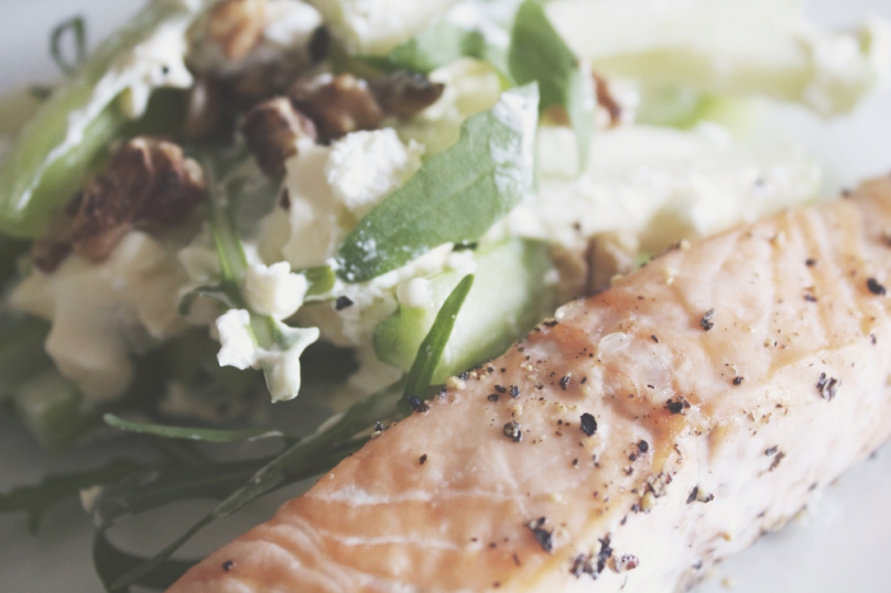 Celery & Green Apple Slaw with Salmon