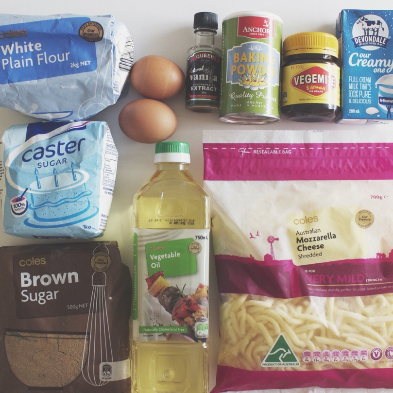 Breakfast Muffins: Vegemite & Cheese Ingredients