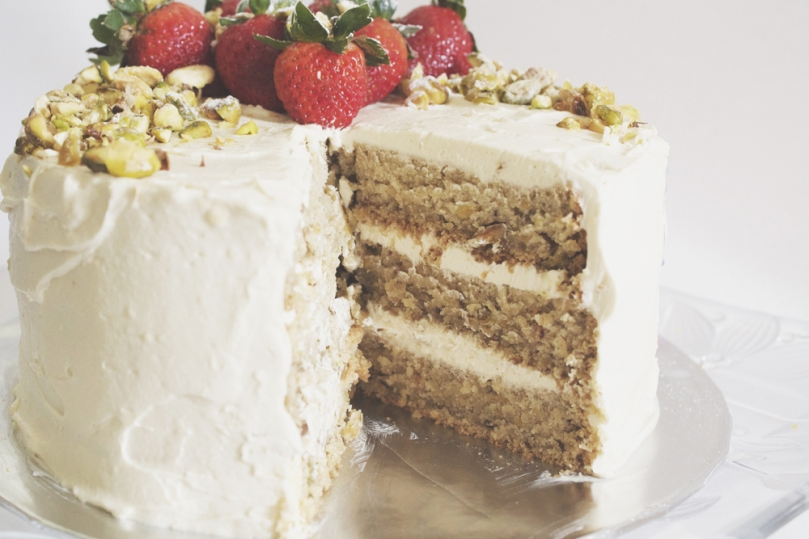 Layered Pistachio Cake with Honey Vanilla Buttercream