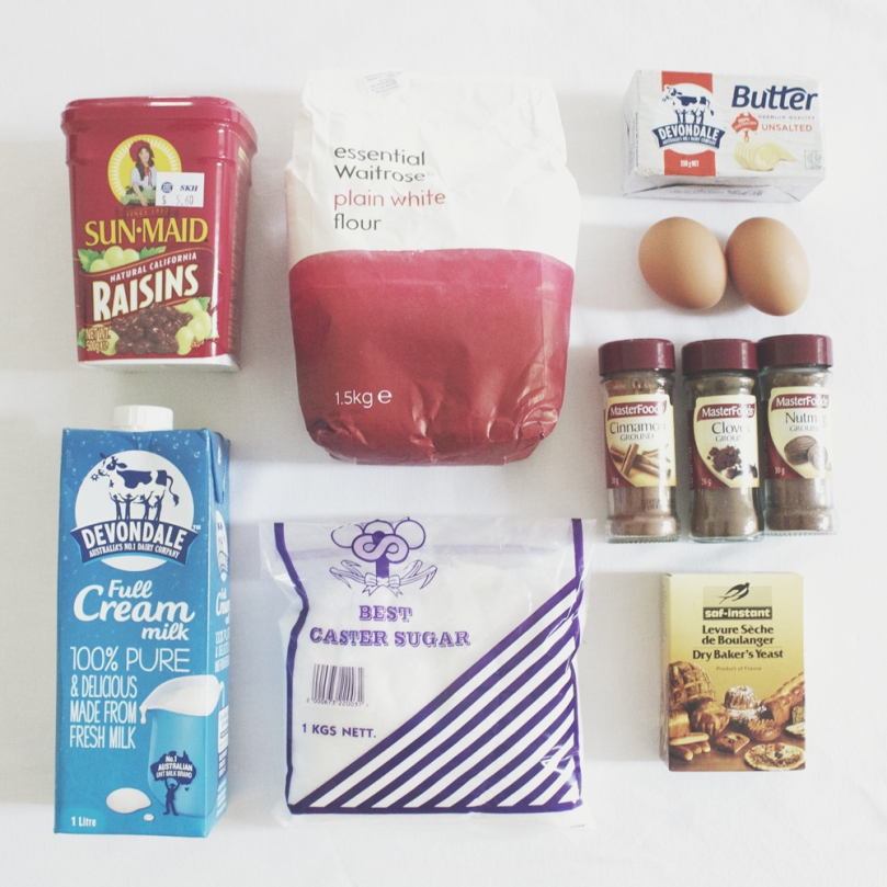 Easter Hot Cross Buns Ingredients
