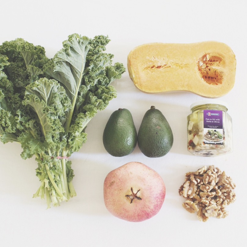 Avocado & Roast Pumpkin, Kale Salad Ingredients