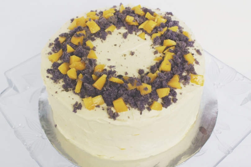 Ube Cake with Mango Cream Cheese Frosting