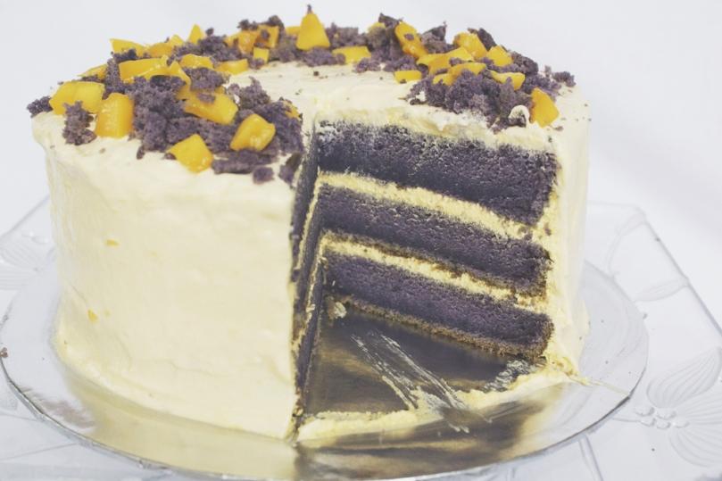 Ube Cake with Mango Cream Cheese Frosting