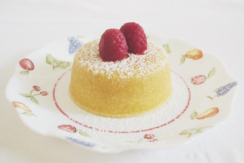 Lemon Molten Cakes with Raspberry & Cream