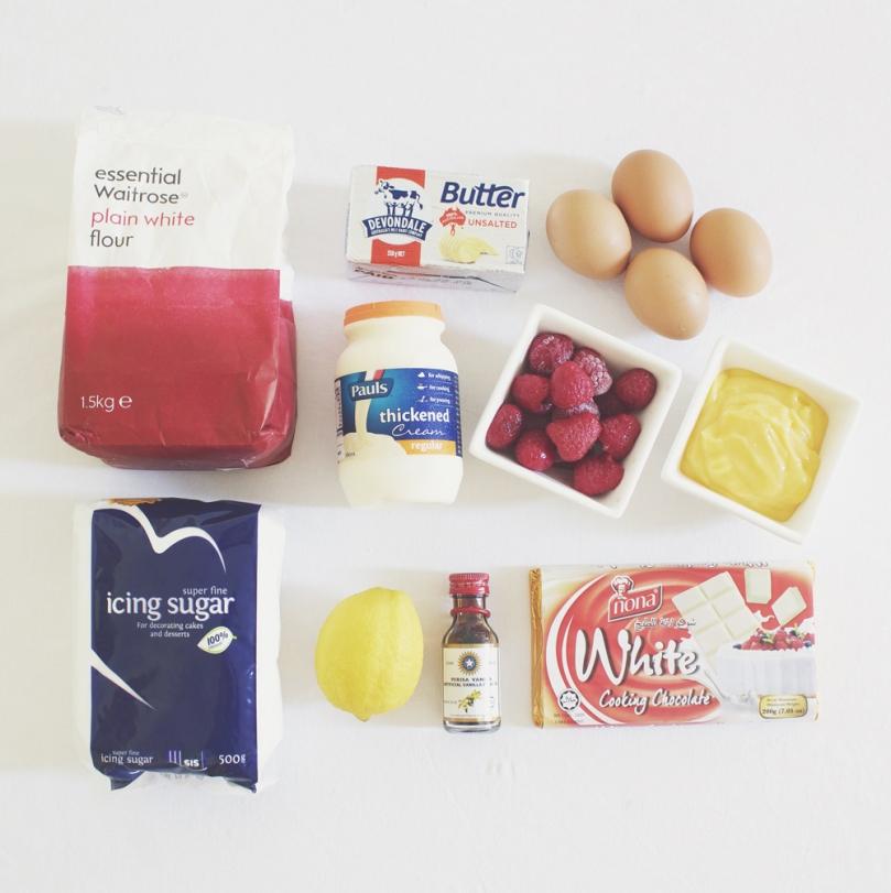 Lemon Molten Cakes with Raspberry & Cream Ingredients
