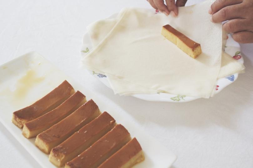 Crispy Fried Leche Flan Process