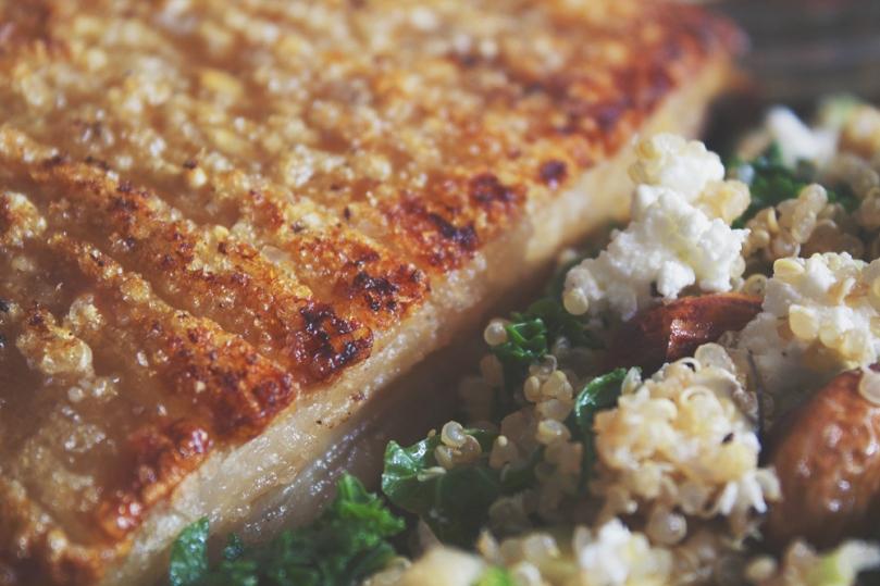 Roast Pork Crackling with Kale & Quinoa Salad