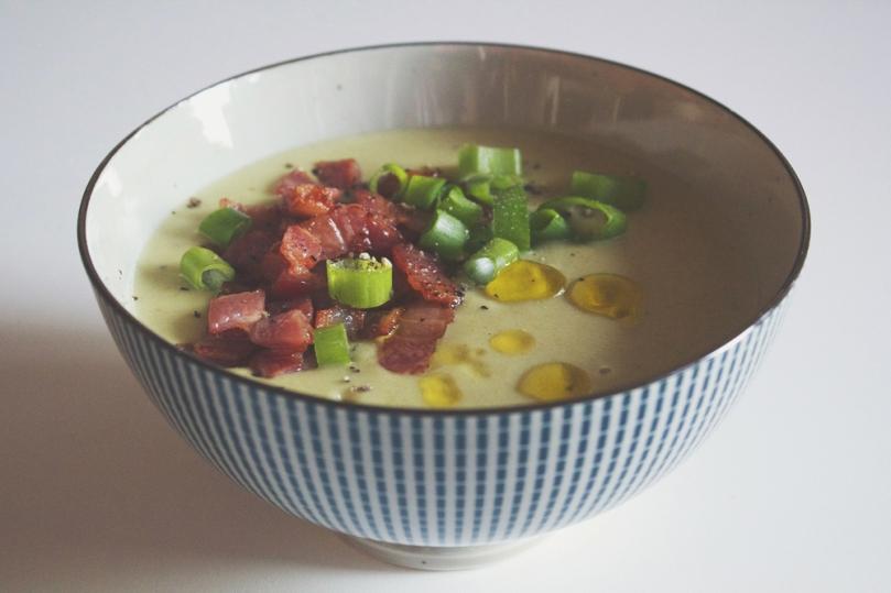 Potato & Caramelised Leek Soup with Crispy Bacon