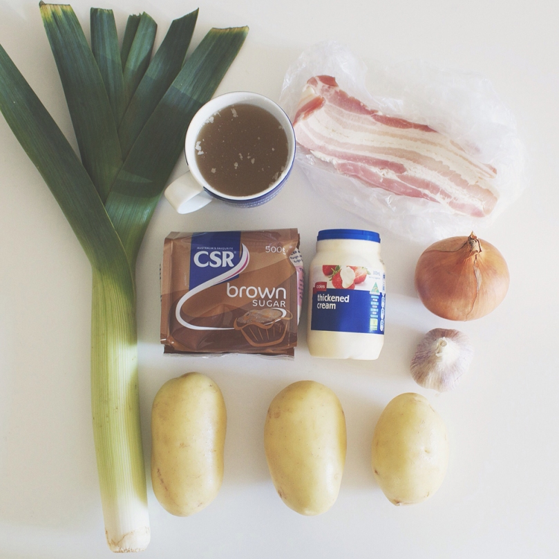 Potato & Caramelised Leek Soup with Crispy Bacon Ingredients