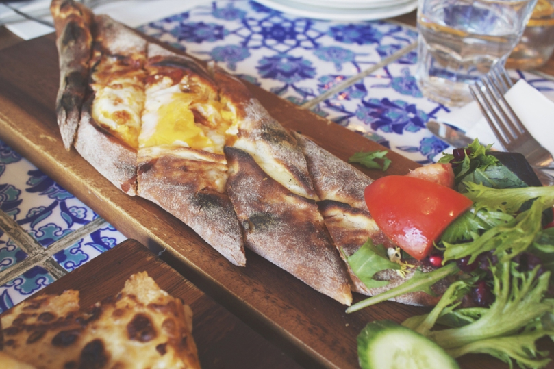 Yeniköy Café and Restaurant - TURKISH SUCUK AND CHEESE PIDE