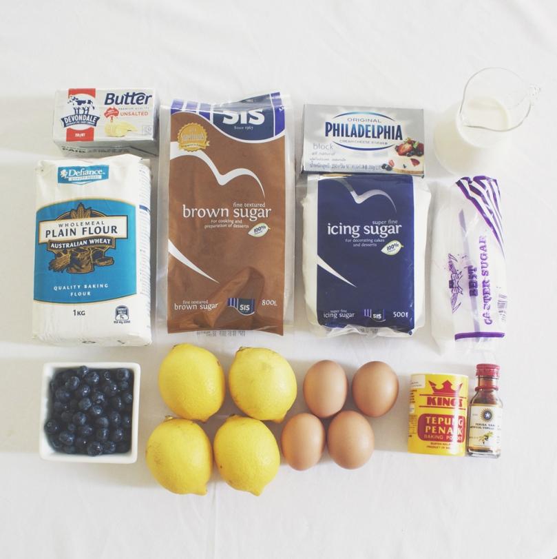 Lemon & Blueberry Layer Cake Ingredients