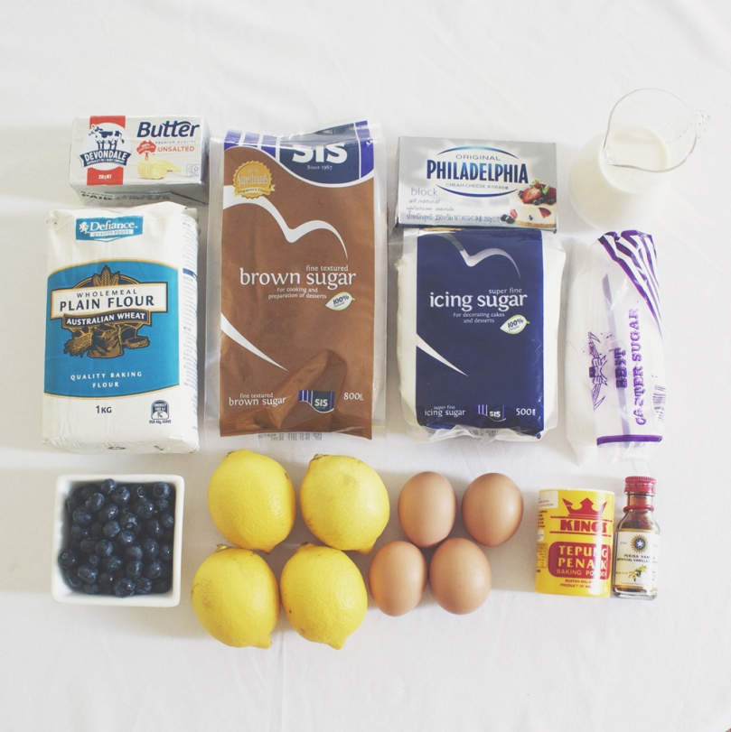 Lemon & Blueberry Layer Cake Ingredients