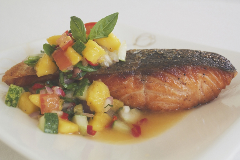 Crispy Skinned Salmon with Mango Salsa