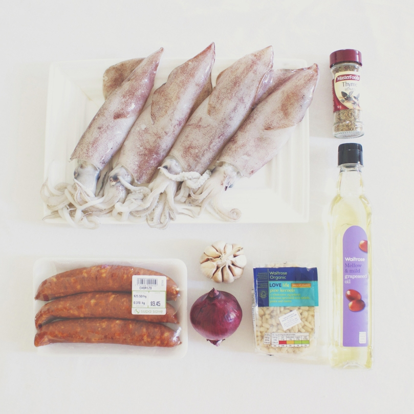 Chorizo-stuffed Squid Ingredients