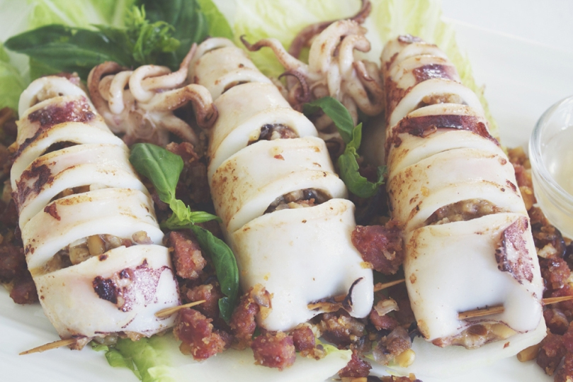 Chorizo-stuffed Squid
