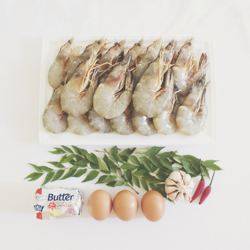 Butter Prawns with Egg Floss Ingredients
