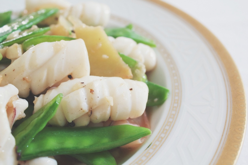 Calamari Stir-fry with Snow Peas & Ginger