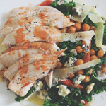 Kale Salad with Roast Chickpeas & Blue Cheese with Butterflied Buffalo Roast Chicken