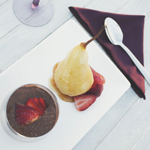Poached Pears with Chocolate Chia Mousse