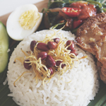Nasi Lemak (Coconut Rice) with Fried Chicken
