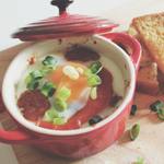 Baked Eggs with Chorizo & Red Capsicum