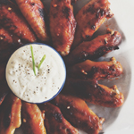 Baked Buffalo Wings with Blue Cheese-Yoghurt Dip