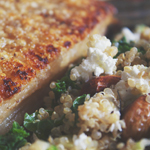 Roast Pork Crackling with Kale & Quinoa Salad
