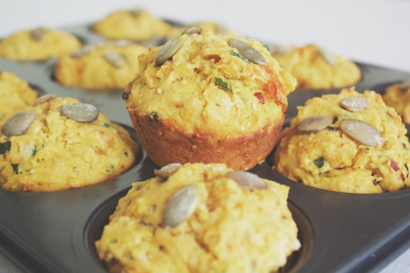 Breakfast Muffins: Pumpkin, Polenta, and Chilli