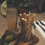 Bar Surry Hills: Paloma Cocktail, Red Wine, and Breadsticks with Oil-marinated Olives