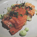 Devon By Night: King Salmon Sashimi, Avocado, Jelly, Ikura, Chives
