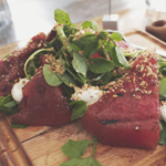 Meat District Co.: Compressed, grilled watermelon salad, sumac, goat cheese, and hazelnut